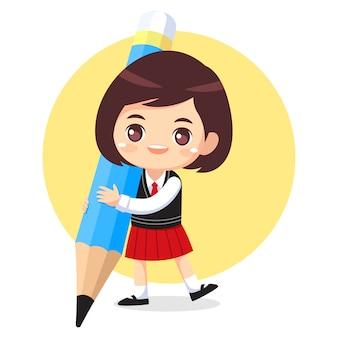 Ładna dziewczyna w mundurek szkolny