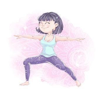 Ładna dziewczyna w odzieży sportowej ćwiczy jogę. joga lub ćwiczenia fitness. aktywny zdrowy tryb życia.