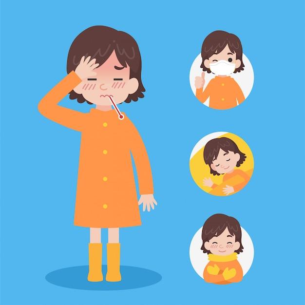 Ładna dziewczyna w pomarańczowym płaszczu przeciwdeszczowym ma chorego