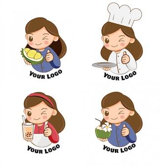 Ładna dziewczyna w różnorodności charakter sklepikarz do projektowania logo