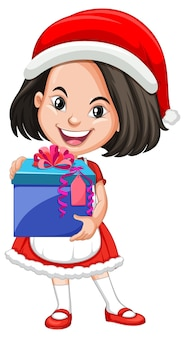 Ładna dziewczyna w stroju świątecznym, trzymając prezent postać z kreskówki