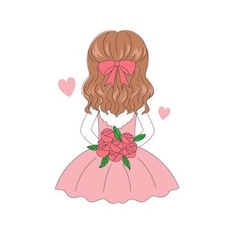 Ładna dziewczyna włosy trzymając bukiet róż kwiat od tyłu. szczęśliwych walentynek. wyciągnąć rękę