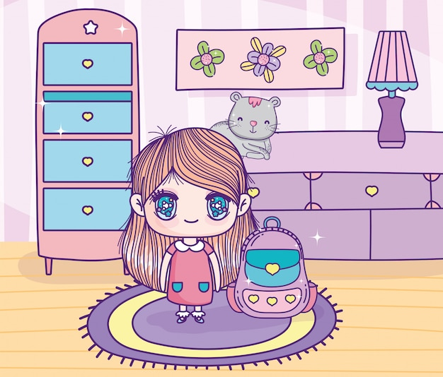 Ładna dziewczyna z anime z kotem plecakiem i meblami