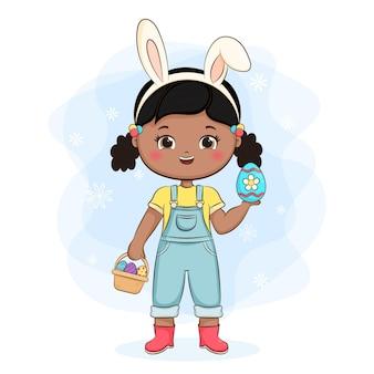Ładna dziewczyna z uszami królika i koszem