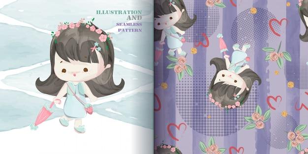 Ładna dziewczynka ręcznie rysowane w słodki styl akwarela bezszwowe wzór.
