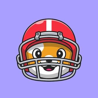 Ładna głowa kota sobie kask rugby kreskówka wektor ikona ilustracja. zwierzę sport ikona koncepcja białym tle premium wektor. płaski styl kreskówki
