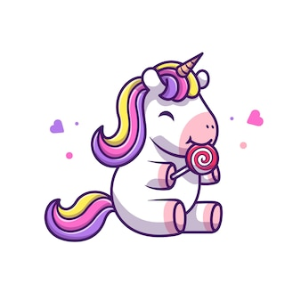 Ładna jednorożec jeść lollipop ikona ilustracja. postać z kreskówki maskotka jednorożca. zwierzęcy ikony pojęcia biel odizolowywający