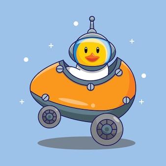 Ładna kaczka astronauta jazda samochodem przez jajko w przestrzeni kreskówka wektor ilustracja. darmowa koncepcja projektowania na białym tle wektor premium