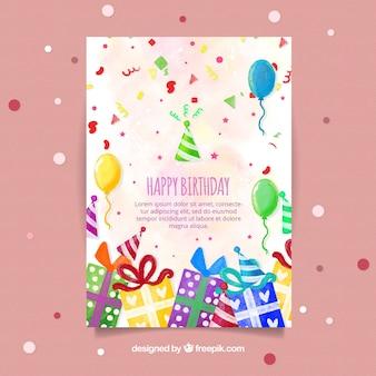 Ładna kartka urodzinowa akwarela