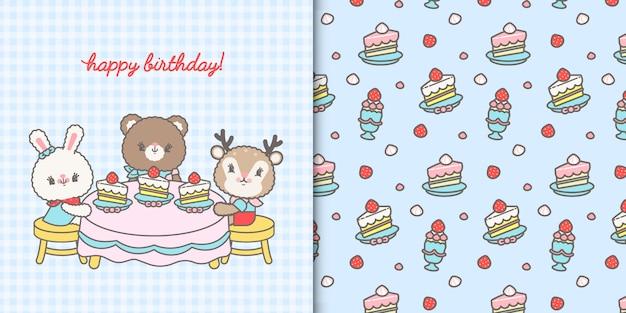 Ładna kartka urodzinowa kawaii i wzór