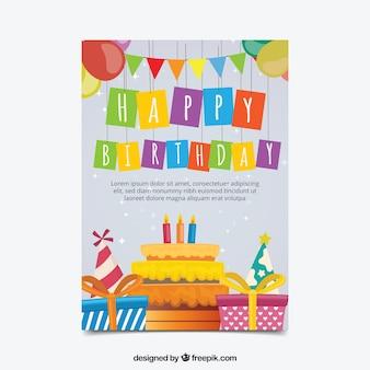 Ładna kartka urodzinowa w płaskiej konstrukcji