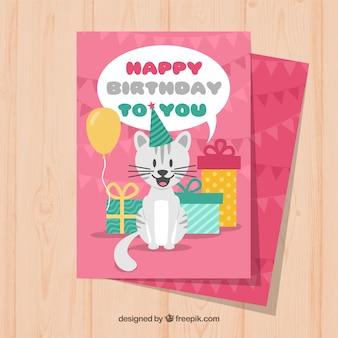 Ładna kartka urodzinowa z kotem w płaskiej konstrukcji