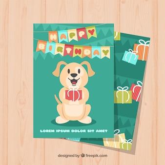 Ładna kartka urodzinowa z psem w płaskiej konstrukcji