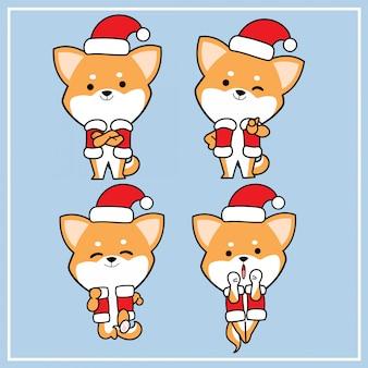 Ładna kawaii ręcznie rysowana postać psa shiba inu z kapeluszem świątecznym