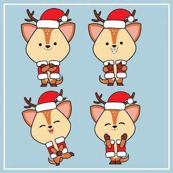 Ładna kawaii ręcznie rysowane postać jelenia z kolekcji christmas hat