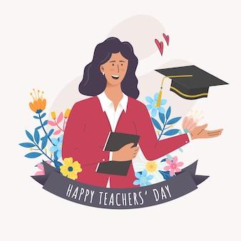 Ładna kobieta nauczyciel szczęśliwy dzień nauczyciela ilustracja
