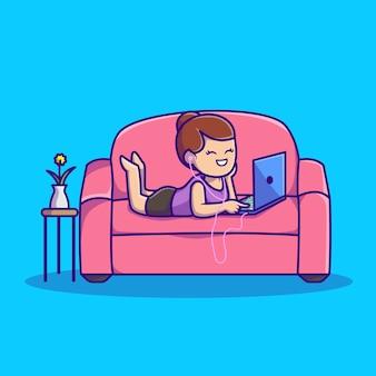 Ładna kobieta słuchania muzyki na laptopie z ilustracji kreskówki słuchawki. koncepcja ludzie technologia ikona na białym tle. płaski styl kreskówki