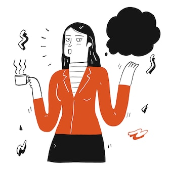 Ładna kobieta trzyma filiżankę kawy i mówi