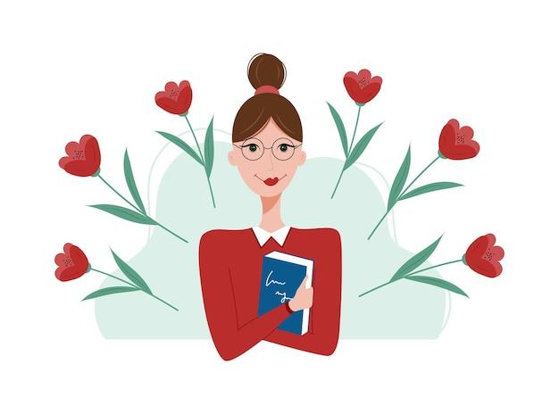 Ładna kobieta trzyma książkę otoczoną kwiatami koncepcja dzień nauczyciela
