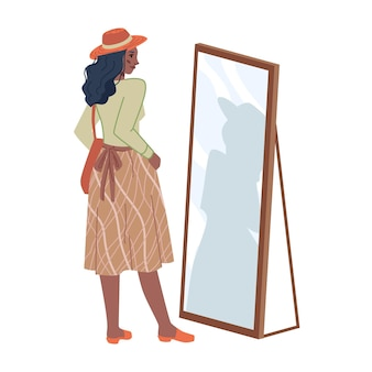 Ładna kobieta w środkowym kapeluszu spódnica patrząc w lustro na białym tle postać z kreskówki płaskiej wektor dziewczyna
