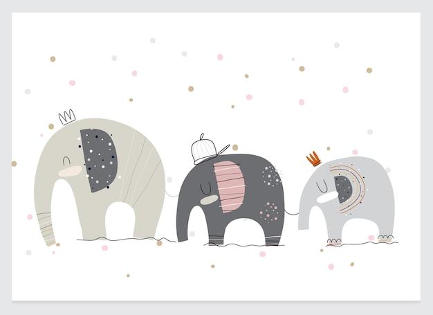 Ładna kolekcja kreskówka płaska ilustracja słonia
