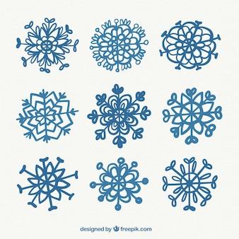 Ładna kolekcja ręcznie rysowane płatki śniegu