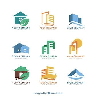 Ładna kolorowa kolekcja logo nieruchomości