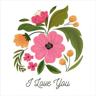 Ładna kompozycja kwiatowa na walentynki, kartka ślubna