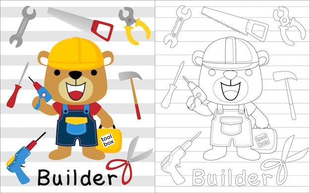 Ładna kreskówka budowniczego z jego narzędziami