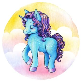 Ładna księżniczka jednorożca akwarela niebieski