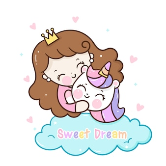 Ładna księżniczka przytulić jednorożca kreskówka łóżko czas wyciągnąć rękę