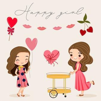 Ładna ładna dziewczyna z różową sukienką kreskówka
