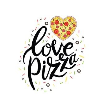Ładna miłość kartkę z życzeniami z kolorowej kaligrafii, napis tekst, gryzmoły i serca. kocham cię bardziej niż pizzę. ręcznie rysowane wektor romantyczna ilustracja sztuki w stylu kreskówki