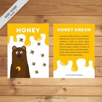 Ładna miodu ulotka z niedźwiedziem i pszczół