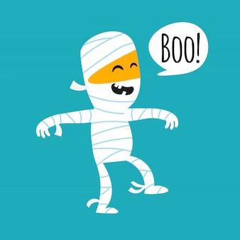 Ładna mumia karta halloween, naklejki, zaproszenia
