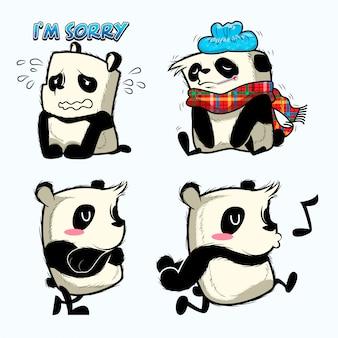 Ładna naklejka na pandę, naszywki panda