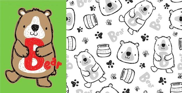 Ładna niedźwiadkowa kreskówka na bezszwowym wzorze