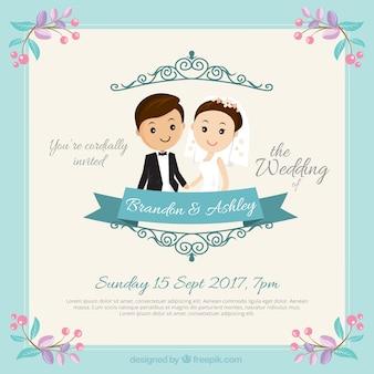 Ładna para ślub zaproszenia
