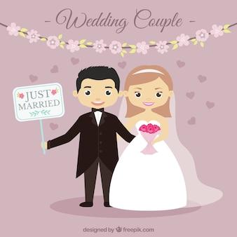 Ładna para ślub ze znakiem