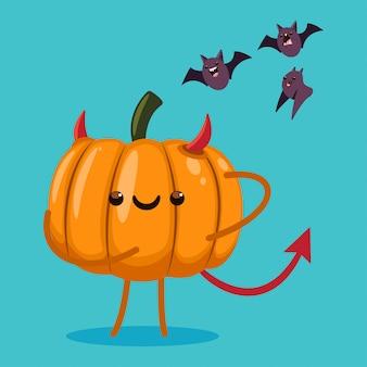 Ładna postać z dyni halloween w stroju diabła i nietoperze. ilustracja kreskówka na białym tle.