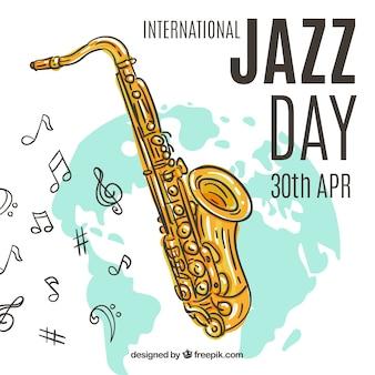 Ładna ręka rysujący tło dla międzynarodowego jazzu dnia