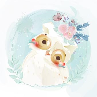 Ładna sowa ręcznie rysowane w słodkim stylu przypominającym akwarele.