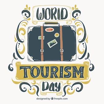Ładna walizka na światowy dzień turystyki