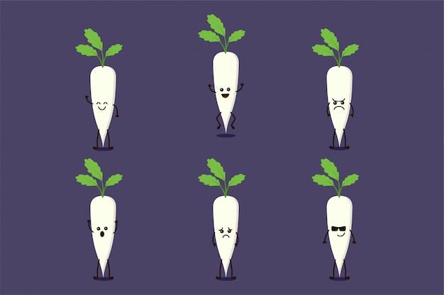 Ładna warzywna postać rzepy na białym tle w wielu wyrażeniach