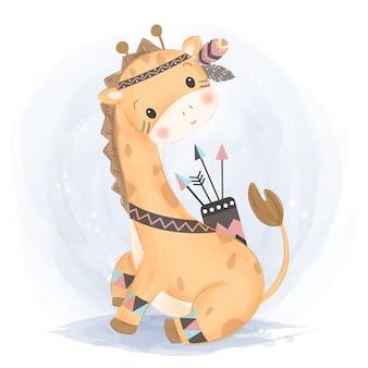 Ładna żyrafa boho w stylu przypominającym akwarele