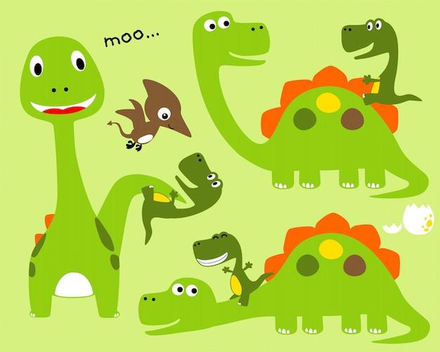 Ładne dinozaury ustawić kreskówki