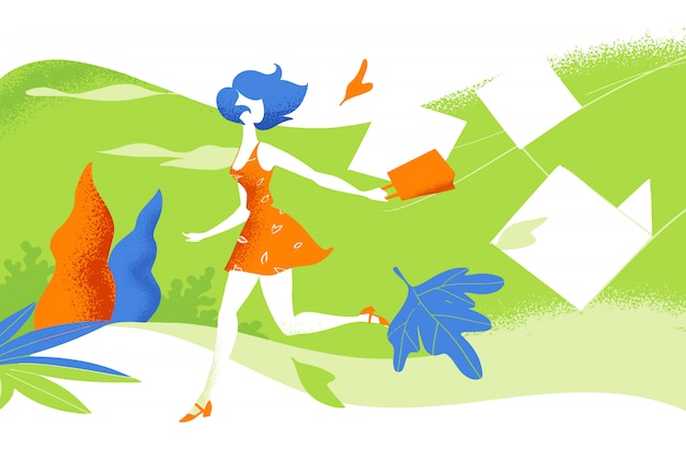 Ładne dziewczyny biegają na wolnym powietrzu po zakupach