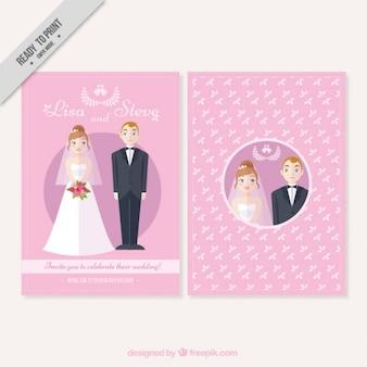 Ładne karty ślubu para na różowym tle