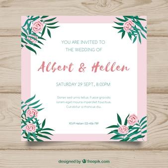 Ładne, kwadratowe zaproszenie na ślub w płaski kształt