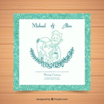 Ładne, kwadratowe zaproszenie na ślub z zieloną ramką
